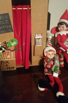 Elf on the Shelf photo booth with actual photos.  My daughter took the photos to school to show her friends!