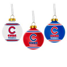 Chicago Cubs Glass Ball Ornament 3 pack