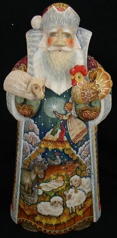 RUSSIAN WOODEN HAND CARVED/PAINTED SANTA