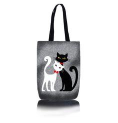 Shop válltáska - Fekete és fehér macska