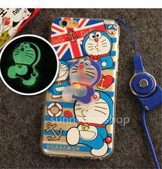 Cute Doraemon cartoon luminous Silicone soft Case glow cover for iphone6 plus 5S #Romrichcaseshop