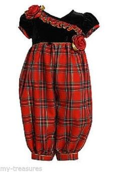 NEW Bonnie Jean Christmas Red Plaid Baby Girl Pants Set 3 6 9 12 months WAS $54 #BonnieJean #Pants #Dressy