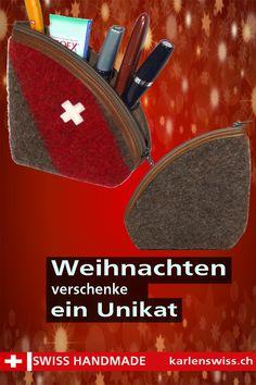 Ein Stift- , Schmink- oder Krimskrams-Etui. Bestechend ist, neben dem Material aus 100 % original Schweizer Armee-Decken, auch die nicht alltägliche Dreiecksform. #Etui, #Schminken #upcycling, #Necessaire