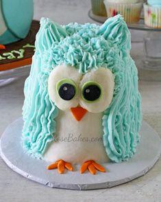 Boy 1st Birthday : Standing Owl Cake, Smash Cake and Owl Cupcakes | http://rosebakes.com/boy-1st-birthday-standing-owl-cake-smash-cake-owl-cupcakes-2/