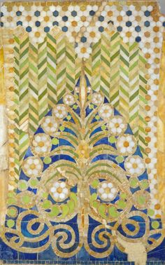 American mosaic panel designed by Louis Comfort Tiffany (1848–1933 New York), ca. 1890-91, Favrile glass.