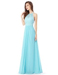 Long Open Back Bridesmaid Dress with Lace Bodice