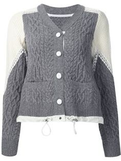 two tone cable knit cardigan