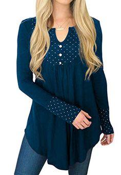 30511b2cba1 Women's Tunics Long Sleeve Casual T-Shirt V Neck Loose Tops Tee Polka Dot  Blouses