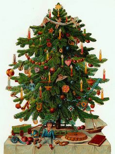 Vintage Christmas tree with unwrapped gifts beneath