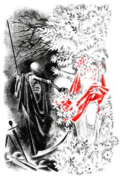 Illustrations by Nika Goltz for a collection of German folk poetry. German Folk, Conte, Childrens Books, Fairy Tales, Playing Cards, Black And White, Illustrations, Poetry, Magic Mirror