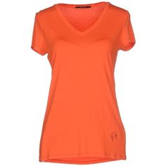 Guess By Marciano T-shirt ($85) ❤ liked on Polyvore featuring tops, t-shirts, orange, orange t shirt, v neck t shirts, orange v neck t shirt, orange top and guess by marciano