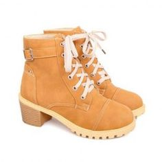 $19.37 British Style Women's Boots With Lace-Up and Buckle Design