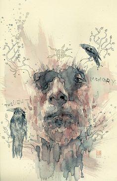 David Mack's cover art for issue 2 of Dark Horse Comics adaptation of American Gods