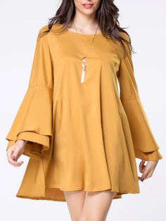 Round Neck Lace-Up Plain Bell Sleeve Shift Dress