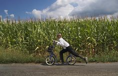 Amish Boy and Scooter, Lancaster County, PA