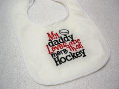 Hockey Bib - My Daddy Loves Me More Than Hockey Bib - Baby Bib - Baby Bib Embroidered in Red and Black - Baby Boy Hockey on Etsy, $7.50