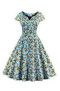 Babyonlinedress Femme Robe de soirée/Bal/Cocktail Courte Rétro Vintage 50 Style Audrey Hepburn Rockabilly Swing Impression A-ligne Col V…