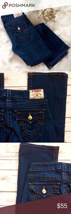 """True Religion   Becky World Series 34"""" Inseam EUC - Becky Style. Flare leg jeans with button flap back pockets. No signs of wear on cuffs or thighs.    🎀Condition: Excellent Used Condition 🎀Wash: Dark Wash 🎀Fit: Flare 9"""" 🎀Waist: 29"""" 🎀Inseam: 34"""" 🎀Front Rise: 8"""" 🎀Back Rise: 12"""" 🎀Fabric: 94% Cotton, 5% Poly, 1% Spandex True Religion Jeans Flare & Wide Leg"""