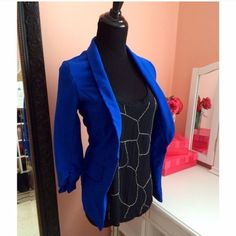 Blue blazer Fitted blazer. In great condition size small. Great stretchy fabric. Purchased from another posher, but didn't fit. No named brand, listed as hm for exposure H&M Tops