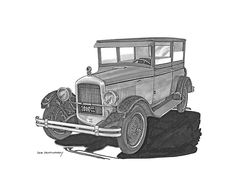 you are viewing a pen & ink drawing of a 1925 jewett five-passenger deluxe touring car by jack pumphrey, the jewett motor car was a subsidiary of the paige motor car company, the price range in 1925 was from $1100 to $1400, the car is equipped with the paige factory built 6 cylinder engine delivering