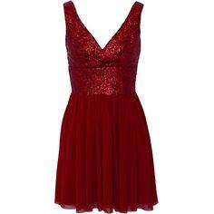 Elise Ryan Sequin Panel Mesh Skater Dress Christmas Dresses ($84) ❤ liked on Polyvore