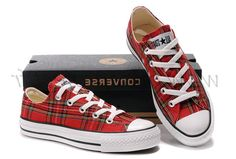 France - Plaid rouge Converse All Star Low Tops Ecosse chaussures de toile