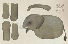 Weiteres - Bastelbogen Elefant - ein Designerstück von enna bei DaWanda