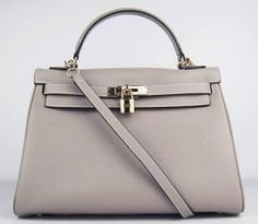 Hermes Golden Lock Leather Handbag Gray