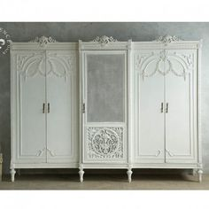 built in french armoire closet Steel Furniture, Diy Furniture, Furniture Design, Furniture Vintage, White Furniture, Bedroom Furniture, Louis Xvi, Antique Brass Chandelier, Muebles Shabby Chic