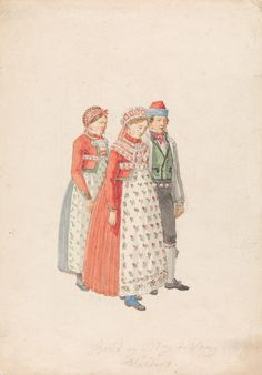 Folk Costume, Costumes, Traditional Outfits, 18th Century, Norway, Scandinavian, Abstract, Sketches, Illustration