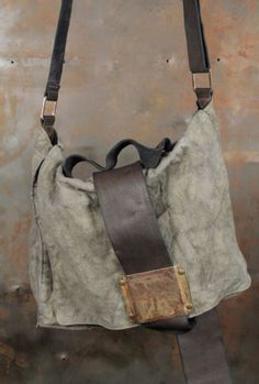 Rusted metal Leather and canvas bag: