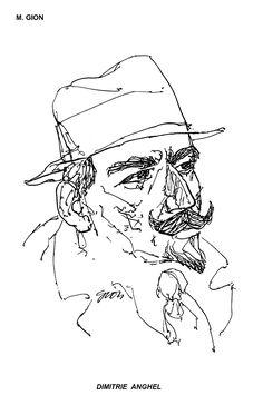 DIMITRIE ANGHEL Desen de M. GION, publicat in almanahul PERPETUUM COMIC '97 editat de URZICA, revista de satira si umor din Romania