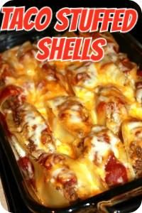 Taco Stuffed Shells. Easy dinner! - Now That Looks Good  #yummyfood