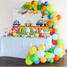 No automatic alt text available. 2nd Birthday Party Themes, Trains Birthday Party, 1st Boy Birthday, Boy Birthday Parties, Birthday Party Decorations, Transportation Birthday, Vintage Jeep, 1st Birthdays, Disney Cars