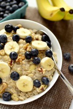 Blueberry Banana Nut Oatmeal {Iowa Girl Eats} - easy and gets you going! #additudemag and #adhdplate