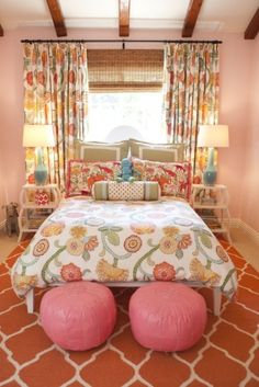 Andrika King Design: Lots of color & pattern in this youthful bedroom / http://www.andrikaking.com