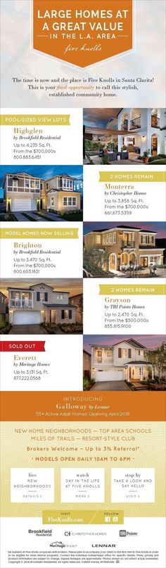 New Homes for Sale in Santa Clarita, California  Large Homes. Incredible Value.   Five Knolls in Santa Clarita   2,121-4,235 sq. ft     3 - 7 Beds     From $500s  Final Opportunity >>  Monterra & Grayson  Model Homes Now Selling  >>  Brighton  Sold Out >>  Everett  Pool-Sized View Lots >>  Highglen  Freeway close to Burbank, Glendale and Downtown LA!  Relax at the resort-style club, enjoy the bike trails or take the dog to the park.  Smart Home Technology!  Discover More Today…