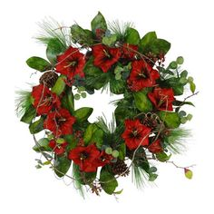 "The Holiday Aisle 32"" Red Amaryllis Wreath"