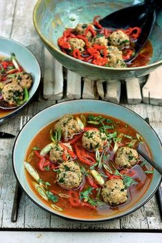 Low-Carb Meatballs in Ginger-Soy Broth — Recipe — Diet Doctor Pureed Food Recipes, Cooking Recipes, Healthy Recipes, I Want Food, Love Food, Diet Doctor Recipes, Slow Cooker, Feta, Albondigas