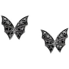 Stephen Webster Fly By Night Black Diamond Butterfly Stud Earrings ($850) ❤ liked on Polyvore featuring jewelry, earrings, butterfly stud earrings, black diamond earrings, butterfly earrings, black diamond jewellery and stephen webster jewelry