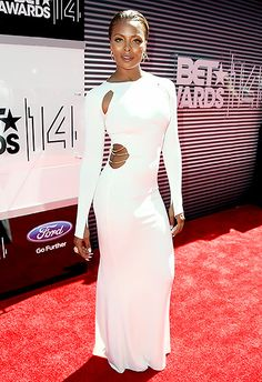 Eva Marcille looked chic in a long-sleeved white gown at the 2014 BET Awards.