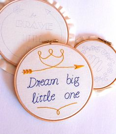 Arrow Embroidery hoop art Dream big little one by RedWorkStitches