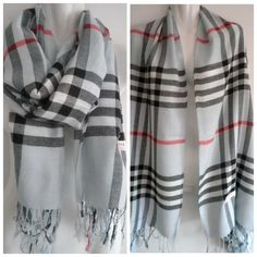 """Pashmina (Cashmere) Shawl Wrap - Light Blue/Black This is a lovely Pashmina (Cashmere) plaid ladies shawl/wrap.  It has a plaid pattern and is available in seven different colors. (Camel Mix, Grey Mix, Pink Mix, Light Blue Mix, Purple Mix, White Mix, Berry Pink Mix)  **This is an unbranded item**  The size is 28"""" x 77"""" (Fringes included) Hand Made Sweaters Shrugs & Ponchos"""