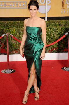 Sandra Bullock wearing the Jimmy Choo VALETTA sandal