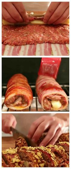 Ground meat and cheese wrapped in bacon. The result is absolutely delicious! Ground meat and cheese wrapped in bacon. The result is absolutely delicious!,Dinner Ground meat and cheese wrapped in bacon. Ground Meat Recipes, Bacon Recipes, Low Carb Recipes, Cooking Recipes, Bacon Hamburger Recipes, Bacon Sushi Recipe, Velveeta Cheese Recipes, Hamburger Egg, Dinner Ideas Hamburger Meat