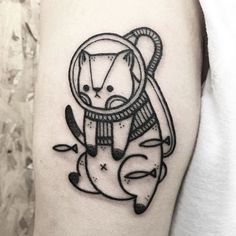 Space Cat, by Hugo Tattooer blackwork hugotattooer dotwork crosshatch