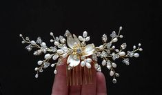 Bridal Headpiece Wedding Hair Comb Bridal Hair Jewelry Wedding Headpiece Wedding Comb Flower Comb Bridal Hair Clip Black Friday sale Bridal headpiece, wedding hair comb made of white freshwater pearls, Czech glass crystals and enamel flower. Used 14K gold plated wire. Width is Wedding Headpieces, Hair Comb Wedding, Bridal Hair, Crown Hairstyles, Wedding Hairstyles, Hair Jewelry, Bridal Jewelry, Braid Accessories, Head Pieces