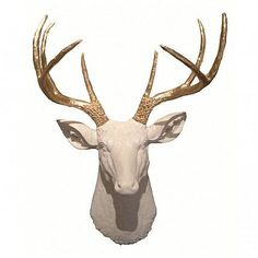 This gold and white combination is a chic and modern take on taxidermy and looks great on any accent wall!This deer head is made out of resin, with gold acryli