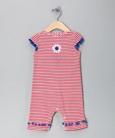 Take a look at this Red Stripe Daisy Playsuit - Infant by Sweet Potatoes on #zulily today!