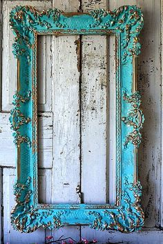 Aqua picture frame wall hanging shabby cottage chic distressed hand painted blue gold accent ornate vintage home decor anita spero design